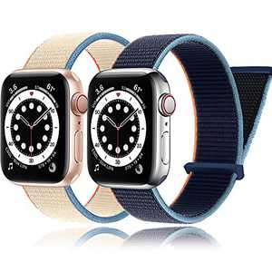 2Pack PROATL Adjustable Nylon Sport Loop Band Compatible with Apple Watch Band 38mm 40mm, Women Men Braided Weave Replacement Strap for iWatch Series 6 5 4 3 2 1 SE (Cream/Deep Navy)
