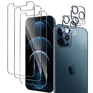 """3 Pack Glass Screen Protector for iPhone 12 Pro Max [6.7""""] with 2 Packs Camera Lens Protector, Full Screen Tempered Glass Film, 9H Hardness - HD - 2.5D Edge - Bubble Free - Scratch Resistant"""