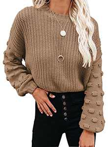 CFLONGE Womens Crew Neck Pom Pom Sleeve Chunky Knit Pullover Sweater Oversized Batwing Sleeve Loose Fall Winter Jumper Tops (Caramel, Small)