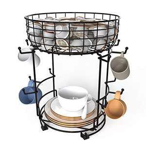 Bextsrack Coffee Mug Holder with Coffee Pod & Saucer Basket Storage, 12 Capacity Cup Mug Holder Tree for Coffee, Glasses and Cups Rust Resistant Mug Rack - Black