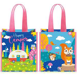 2 Pieces Kids Recycled Tote Bag Woodland Animals Goodie Bags Favors Forest Creatures Gift Bags Kids Camping Pouch Recycled Gift Bag for Camping Party Birthday Party Favor