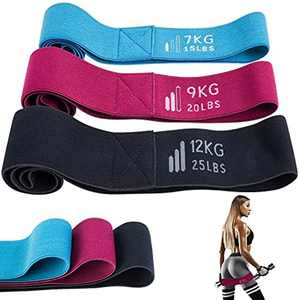 Resistance Bands Set for Women, Booty Bands, Anti-Slip & Roll, 3 Set Fabric Fitness Exercise Loop Bands with Training Manual for Home, Gym, Yoga, Training Workout Kit Squat/Hip/Leg/Glutes Training