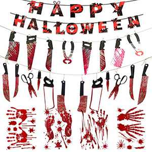 Halloween Party Decorations, Jonkiki 7 Sets Bloody Weapon Garland Banner Zombie Vampire Party Decorations Supplies Spooktacular Creations Blood Handprint Footprint Window Stickers Cosplay Knife Banner