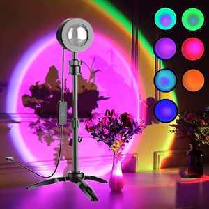Sunset Lamp Projector, Sunset Lamp, Sunset Light LED lamp Rainbow Night Light 7 Color, UFO Shape USB 360 Degree Rotation Sunset Projection Lamp, Photography Selfie Home Living Room Bedroom Decor