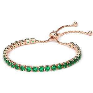 Tennis Bracelet for Women, 14K Rose Gold Plated, Rainbow Series Length Adjustable Slider Bracelet for Women Girls, Inlaid Sparkle Diamond Cut AAA+ Cubic Zirconia