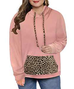Ritera Plus Size Womens Oversized Pullover Hoodie with Pockets Long Sleeve Shirts Leopard Tops Sweatshirts Pink 4XL