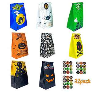Halloween Treat Bags,8 Styles 32pcs Trick Or Treat Bulk Gift Bags,Halloween Goody Bags With 36 Pieces Stickers For Party Supplies Favors