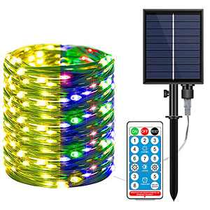 Solar String Lights, Extra-Long Solar String Lights Outdoor, Solar String Lights Outdoor, 40FT 200 LED Solar Powered Fairy Lights with, Cooper Wire Lights for Patio, Garden, Party, Wedding (Color)