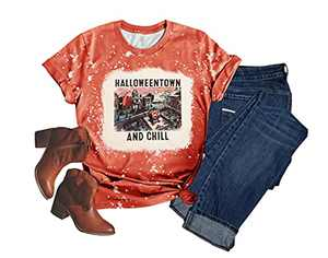 Women's Funny Graphic Novelty T-Shirts Hocus Pocus Printed Short Sleeve Halloween Tee Top (Red 2, XL)
