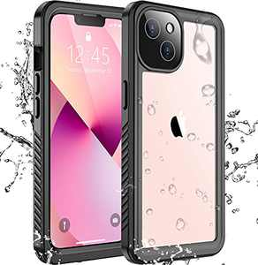 """SPIDERCASE Designed for iPhone 13 Mini Case, Waterproof Built-in Screen Protector, Shockproof Full Body Cover Rugged Case for iPhone 13 Mini 5.4"""", Black/Clear"""