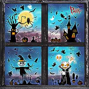 208 PCS Large Halloween Window Clings,Halloween Window Sticker,Halloween Window Decals, Halloween Window Clings Stickers for Glass Windows Decorations