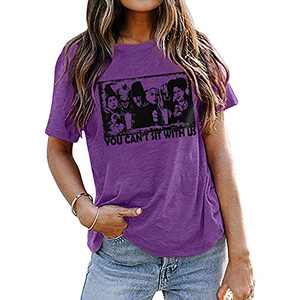DUTUT Halloween You Can't Sit with Us Shirt Sanderson Sisters Shirt Funny Graphic Friends Shirt Hocus Pocus T-Shirt Purple