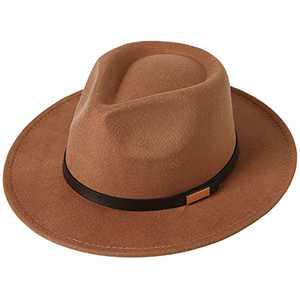 Lanzom Classic Fedora Hats for Women Lady Wide Brim Felt Panama Hat with Belt Buckle (B-Khaki)