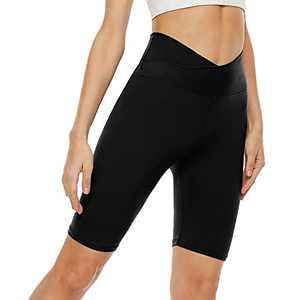"""Cross Waist Biker Shorts for Women – 8"""" High Waisted Athletic Short Crossover Leggings for Yoga Running Gym"""