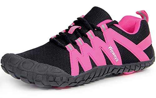 Women Minimal Shoes Camping Trekking Toes Five Fingers Ladies Workout Sneaker Barefoot Female Zapatos Deportivos de Mujer Rose Red Women Size 8 Men Size 6