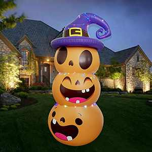 CiniQy Halloween Inflatable Outdoor Pumpkin Blow Up Yard Decoration with LED Lights Inflatable Punching Bag for Kids