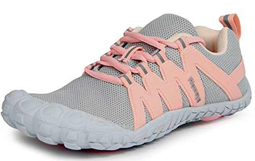 Women Minimalist Barefoot Sneakers Low Zero Drop Sole with Arch Support Wide Width Toe Box Lace Up Flats Tennis Driving Shoes Gray Pink Women Size 5 Men Size 4.5