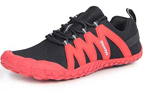 Men Women Cross Trainer Minimalist Shoes Barefoot Wide Walking Lightweight Hiking Trekking Workout Sneakers Footwear Black Red Women Size 9 Men Size 8