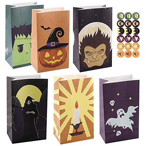 Halloween Treats Bags - 48 PCS Halloween Goody Bags with Halloween Candy Bags Stickers For Halloween Party Favors, Halloween Party Supplies
