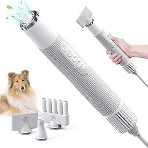 uahpet Dog Dryer Portable Less Noise Pet Grooming Hair Dryer High Velocity Pet Force Hair Dryer with NTC Smart Temperature Control Dog Household Blower with Three Multi-Function Air Nozzles