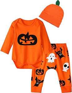 COSLAND Newborn Halloween Pumpkin Outfit Baby Boy Clothes Sets