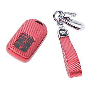 Xth-Nth for Honda Key Fob Cover with Key Chain,Soft TPU Full Protection Fob Cover Case, Key Fob Case Compatible with Honda Accord Civic CRV Pilot Odyssey Passport Smart Remote Key(Red)
