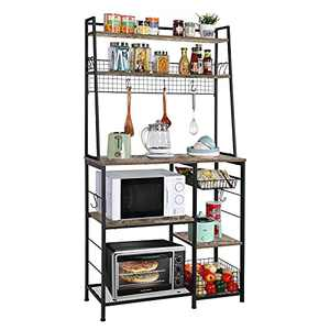 Kitchen Baker's Rack with Storage, 68inch Microwave Oven Stand with Pull-Out Wire Basket 12 Hooks,5 Tier Storage Shelf with Mesh Panels for Utensils, Pots, Pans, Spices