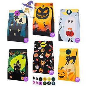 SUNTA Halloween Treats Bags Party Favors, 6 Styles 60pcs Paper Candy Bags for Kids Trick or Treating, Halloween Goody Bags Bulk + 64pcs Cute Stickers, Mini Birthday Gift Bags for Snacks Party Supplies