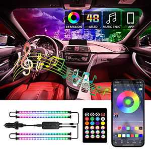 BUNDEAR Interior Car Lights,RGB LED Lights for Car with 48 LEDs,2 Line Design,APP Control with Remote Music Sync Color Change,USB RGB Car Lighting with Control Box and Car Charger 12V 2A