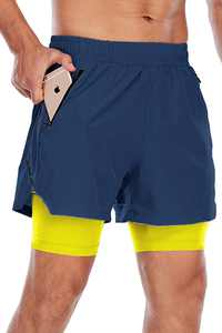 N\C Men's Shorts Summer 2 in 1 Sports Shorts Gym Running Shorts Breathable Joggers Shorts with Pockets