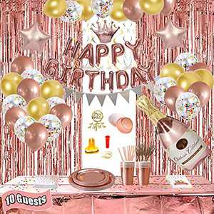 Party Decorations,Rose Gold Party Decorations for Girls and Women,Happy Birthday Banner,Balloons,Curtains, Table Runner, Plates, Cups,Straws, Forks,Tissue,Cards,Cake Topper for 10 Guest
