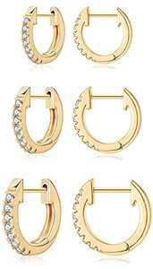 3 Pairs Huggie Hoop Earrings for Women, 14K Gold Plated Cubic Zirconia Cuff Stud Earrings Jewelry Gifts
