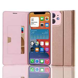 RedyRun Flip Leather Case Compatible with iPhone 12 Case 6.1 Inch [Magnetic Folio Holster][Hybrid PU Stand Cover][TPU Silicone Bumper Case][Wallet Card Holder][RFID Protective],Rose Gold