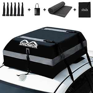 SNDMOR Car Roof Bag,15 Cubic Feet Waterproof Car Rooftop Cargo Carrier Bag, roof Bag Cargo Carrier for All Vehicle with/Without Racks,Includes Anti-Slip Mat+ 4 Reinforced Straps+ 6 Door Hooks
