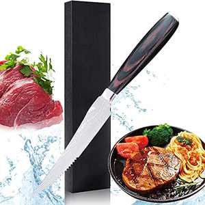 Steak Knife,5 inch Professional High Carbon Stainless Steel Steak Knives Serrated,Pakkawood Handle,Premium Kitchen Knife with Elegant Gift Box