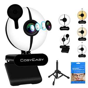 Cosyeasy 60FPS FHD 1080P Webcam with Microphone, Webcam Cover Ring Light and Tripod, 3-Type Colors Light Adjustable Brightness, Plug and Play Webcam, Webcam for Laptop MacBook PC Streaming