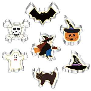 Halloween Cookie Cutters Set 7 Pieces, Stainless Steel Halloween Biscuit Cutters Shape - Pumpkin, Bat, Ghost, Cat, Witch, Hat, Skeleton for Halloween Food Party Decorations