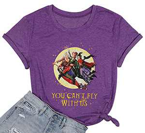 DUTUT Halloween You Can't Sit with Us Shirt Sanderson Sisters Shirt Funny Graphic Friends Shirt Hocus Pocus T-Shirt (Fly-Purple, Medium)