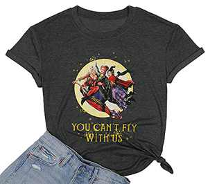DUTUT Halloween You Can't Sit with Us Shirt Sanderson Sisters Shirt Funny Graphic Friends Shirt Hocus Pocus T-Shirt (Fly-Grey, Large)