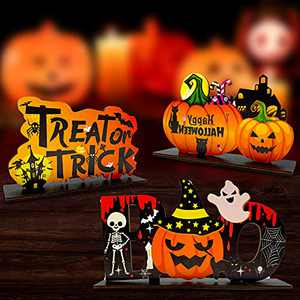 Halloween Party Decorations 3 Packs Halloween Table Decorations Indoor Cute Party Supplies Decorations Wooden Pumpkin Table Centerpieces Boo Sign for Halloween Party Dinner Coffee Table Topper Tier Tray Home Room Kitchen Decor