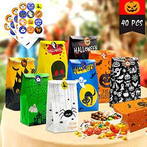 Halloween Treat Bags, 40 PCS Halloween Candy Gift Bags for Kids Trick or Treat & 48 PCS Halloween Stickers Small Paper Gift Bags for Treats Snacks Halloween Goodie Bags Party Decorations Supplies