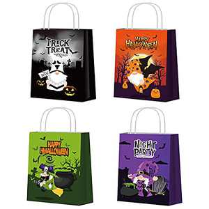 onEveryBaby Halloween Treat Bags 16 PCS Bags for Kids Trick or Treat Gnome Candy Paper Bags with Handle Party Favor Supplies Goodies Tote Bags for Halloween Party Decorations