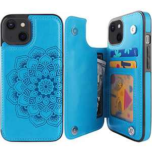 "Compernee for iPhone 13 Wallet Case with Card Holder, Mandala Embossed Faux Leather Kickstand Card Slots Case, Handmade Shockproof Protective Slim Soft Flip Phone Case 2021 6.1"" Blue"