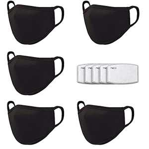 Cloth Face Mask Washable Reusable for Women Men Build-in Nose Wire and Filter Pocket, Black Masks Breathable Cotton Dust Cloth Fabric for Indoor Outdoor Using (5 Pack)