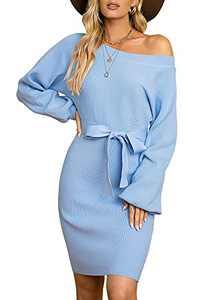 Atergens Women's Off Shoulder Sweater Dress Long Sleeve Slim Knit Dress with Belt(Sky Blue,XX-Large)