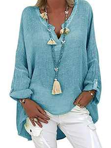 Women's Linen Tops Casual Cotton Long Sleeve V-Neck Tunic Tops Blouse Asymmetrical Shirts