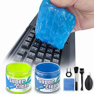 2 Pack Keyboard Cleaner, Dust Cleaning Gel with 5 Keyboard Cleaning Kit Detailing Cleaning Putty for Car Dash & Vent Universal Office Electronics Cleaning Kit Laptop, Calculators, Speakers & Printers