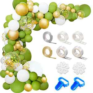169PCS Olive Green Balloon Garland Arch Kit Green Gold White Confetti Latex Balloons for Balloon Arch, Garland Balloon Kit for Baby Shower Decor Wedding Birthday Party Supplies