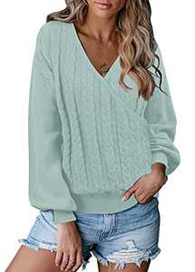 KYL Women's Wrap Deep V Neck Long Lantern Sleeve Cable Knit Sweater Pullover Sage Large