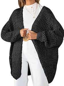 KYL Women's Open Front Long Sleeve Crochet Chunky Knit Cardigan Sweater Loose Outwear Black Medium